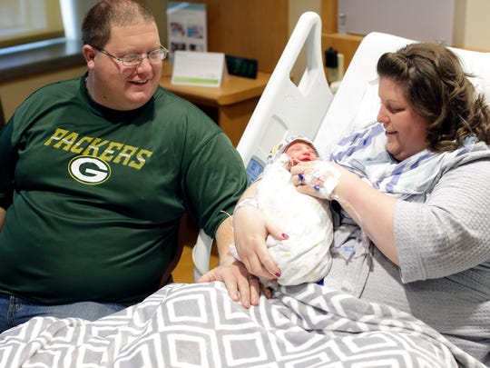 Green Bay residents Tiffany and Eric Haldiman welcomed their son, Cody, to the world on New Year's Day at St. Vincent Hospital in Green Bay. Cody was the first baby to be born in 2017 in the Green Bay area. Sarah Kloepping/USA TODAY NETWORK-Wisconsin