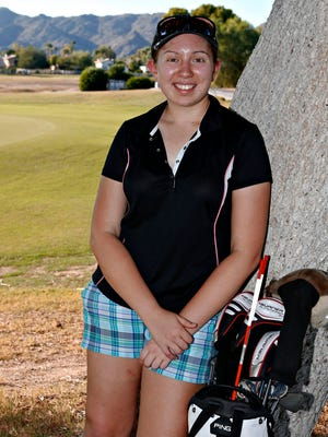 MIkaela Hatfield, a golfer at Tempe Corona del Sol High School, is making a comeback after concrete bench fell on her right little finger.