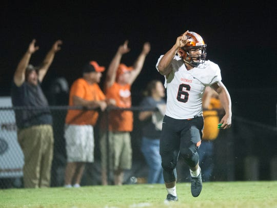 Greenback's Breeden Gilbert celebrates after making