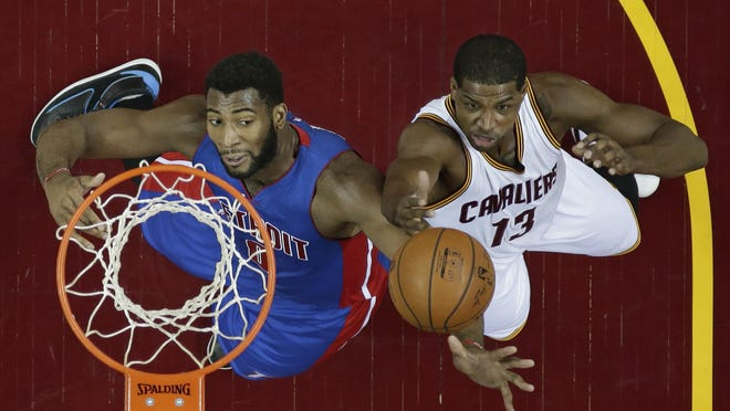 Andre Drummond, who averaged 14.8 rebounds in 2015-16, goes up vs. the Cavs' Tristan Thompson in February.