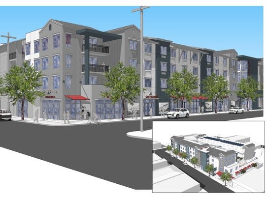A rendering of the MidPen Housing project affordable housing community to be built at 21 Soledad St.