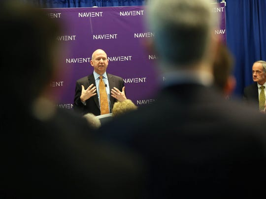 Gov. Jack Markell speaks at a ribbon-cutting ceremony for Navient, a loan-management company and former subsidiary of Sallie Mae that recently opened its new headquarters on Justison Street in Wilmington.