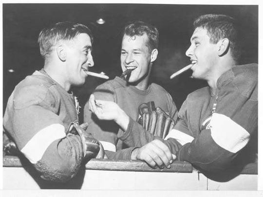 From left, Alex Delvecchio, Gordie Howe and Ted Lindsay.