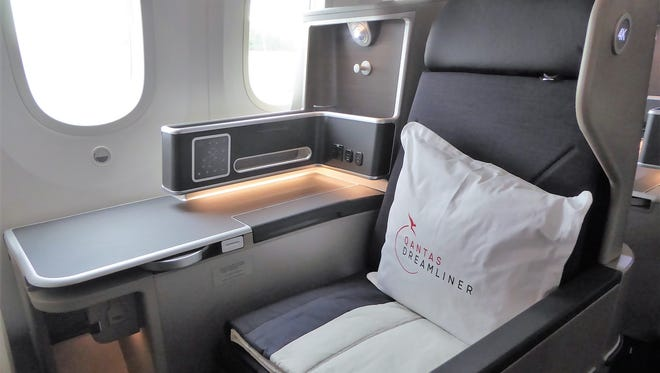 Business-class seats on the Qantas 787-9 have a 46-inch pitch and can be in recline position at takeoff and landing.