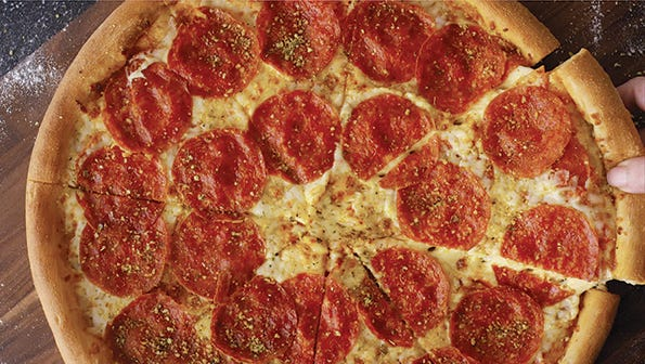 Get a dual layer pepperoni pizza for $10 Papa John's at Papa John's for a limited time.