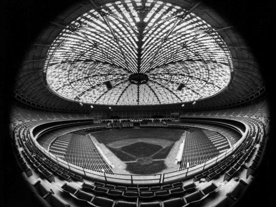 In this April 1965 file photo, the Houston Astrodome
