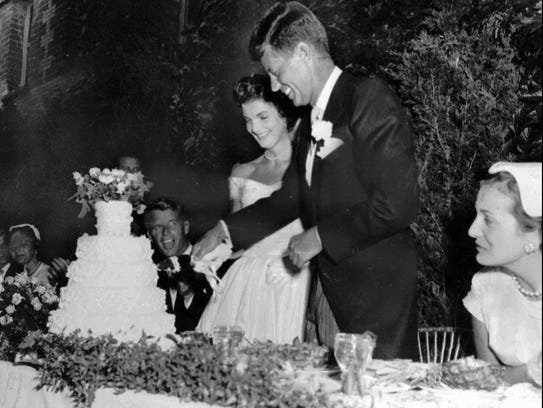 Then-U.S. Senator John F. Kennedy and his bride, the