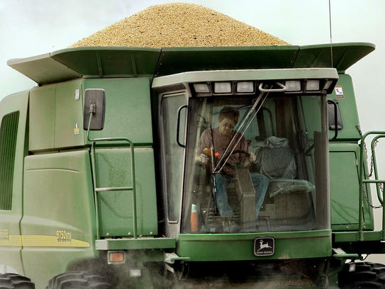 Soy beans fill the hopper on Jay Davis' combine as he works a field north of Mount Vernon in 2006.