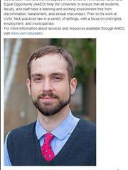 Title IX Coordinator Nick Stanton in a University of