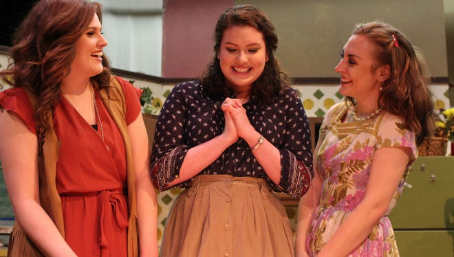 "Chloe Husted (from left) plays Babe, Kathleen Jenkins is Lenny and Morgan Slaughter plays Meg in Angelo Civic Theatre's production of ""Crimes of the Heart."""