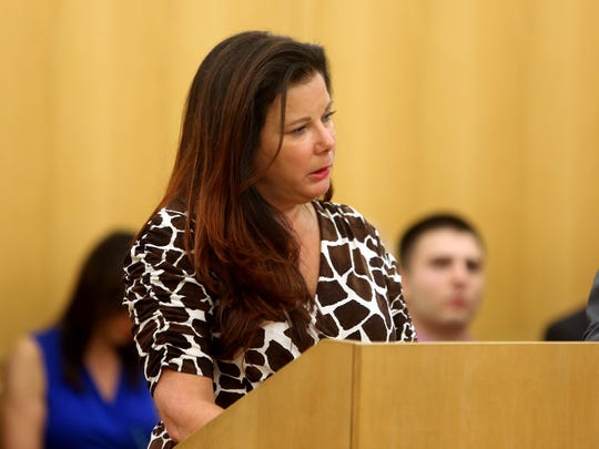 Erica Linn, the daughter of Carmelo and Henrietta Sbezzi, gives a victim's impact statement during the sentencing of Michelle Bonet in Westchester County Court on Aug. 3, 2017. Bonet had plead guilty to aggravated vehicular homicide and other charges in the case in which Carmelo Sbezzi, 80, of Sleepy Hollow and his wife Henrietta, 82, both died. Bonet was over three times the legal limit for driving while intoxicated when the accident occurred.
