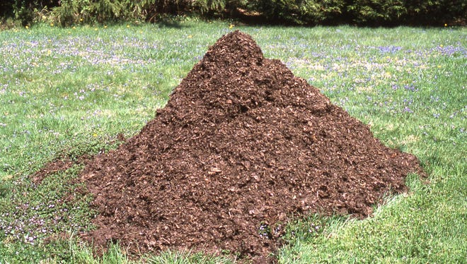 This one cubic yard of leaf compost is two years old. it is ideal for use as a soil additive or as a garden mulch. Richard Poffenbaugh Photo.