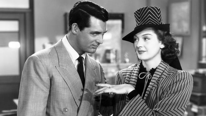 """The classic """"His Girl Friday"""" (1940) stars Cary Grant and Rosalind Russell."""