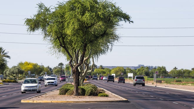 This is the median on South Price Road, south of Germann Road in Chandler, on May 10, 2017. The view is looking south.