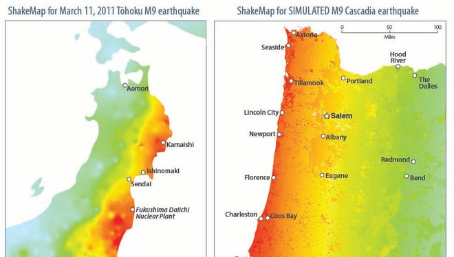 These shake maps show the actual strength of shaking and damage experienced in the 2011 Tohoku, Japan earthquake, and a simulated map of what's expected in Oregon and Washington during a magnitude 9 subduction zone earthquake.