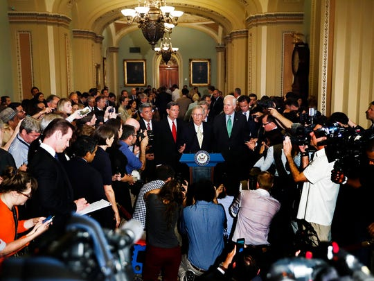 Senate Majority Leader Mitch McConnell speaks during a news conference on Capitol Hill on July 18, 2017.