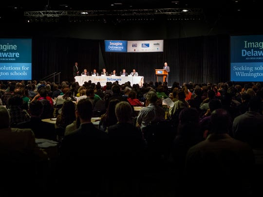 An audience of more than 700 listen to Gov. Jack Markell and a group of panelists Monday evening at the Imagine Delaware forum hosted by the News Journal, the United Way and other organizations at the Chase Center on the Riverfront.