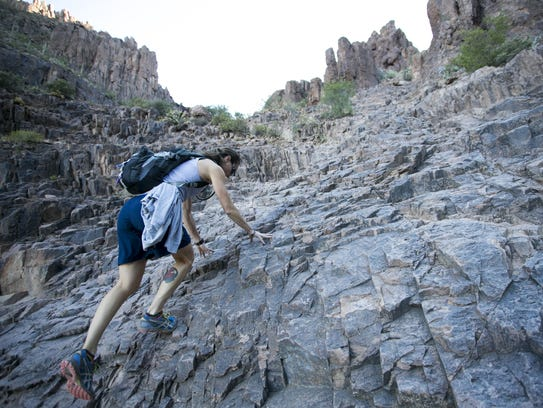 Karren Hatch of Queen Creek, hikes the route to the