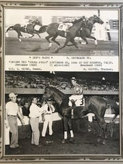 Finish line/winner's circle shot of Bill Shoemaker winning the 'Colma Purse' aboard Ike's Glory on Sept. 22, 1949 in Bay Meadows, Calif.