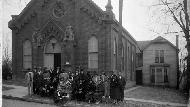 A group portrait of the congregation of the Bethel African Methodist Episcopal Church at 514 East 7th Street, Muscatine, Iowa. The picture was taken in celebration of their 83rd year.