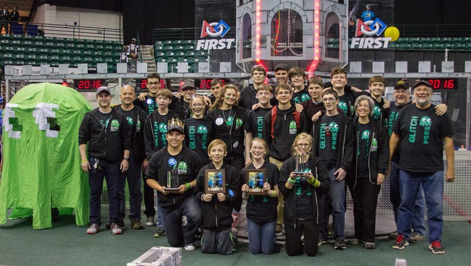 Team Glitch takes a group photo after the statewide competition.