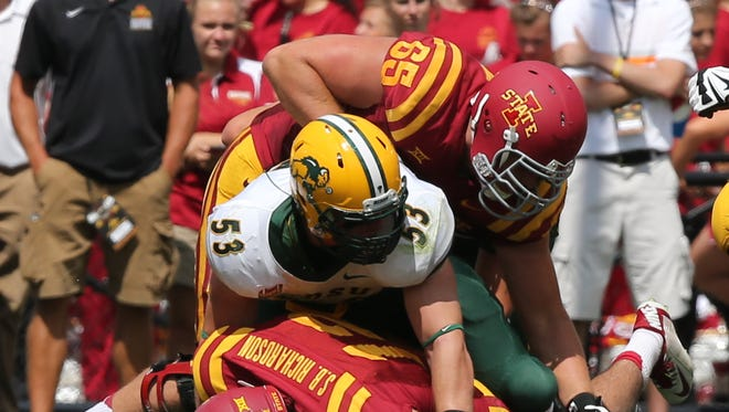 Iowa State lineman Jacob Gannon goes after a loose ball in the North Dakota State game.
