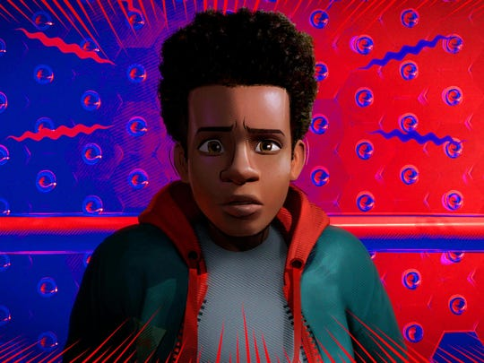 "Miles Morales, voiced by Shameik Moore, is a biracial version of a superhero in ""Into the Spider-Verse."""