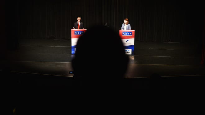 GOP gubernatorial candidates Marty Jackley and Kristi Noem debate in downtown Sioux Falls Thusday, May 31, at the Orpheum Theater. The debate was sponsored by the Sioux Falls Area Chamber of Commerce, The Argus Leader, and KSFY.