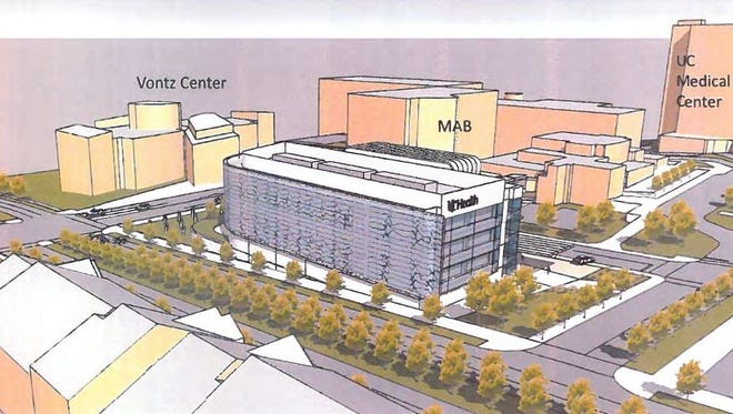 This rendering shows the location of the proposed UC Neuroscience Institute building at the northeast corner of Martin Luther King Drive and Eden Avenue in Corryville.