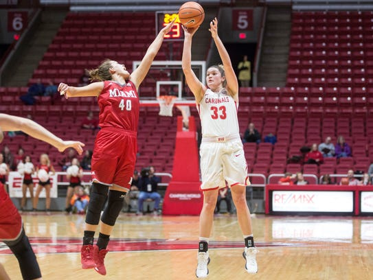 Ball State forward Moriah Monaco takes a three point