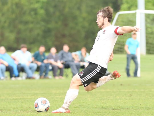 Tristan Lowery attempts a free kick during Lexington's