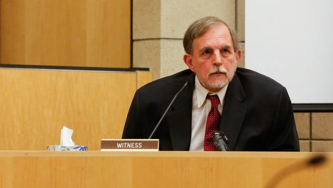 Dr. William Logan, a psychiatrist specializing in forensic psychiatry, testifies in the trial of Alexander Kozak at the Story County Courthouse in Nevada on Thursday Apr. 21, 2016. Dr. Logan met with Kozak in October of 2015 and diagnosed him with Intermittent Explosive Disorder and Borderline Personality Disorder in a preliminary report he released in January. Alexander Kozak is charged with first-degree murder in connection with the 2015 shooting death of Andrea Farrington at the Coral Ridge Mall.