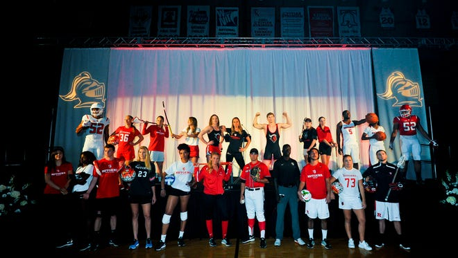 Rutgers student-athletes unveil their new Nike uniforms Tuesday night.