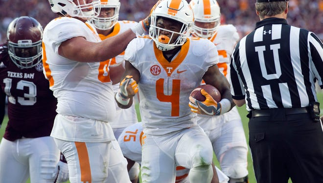Tennessee running back John Kelly celebrates after scoring a touchdown  against Texas A&M on Oct. 8.