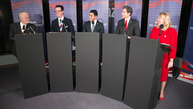 Republican candidates for Arizona's 8th Congressional District prepare to debate at The Arizona Republic offices in Phoenix on Jan. 24, 2018.