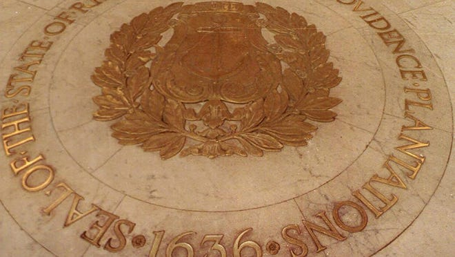 The seal of the State of Rhode Island and Providence Plantations on the floor of the State House rotunda.