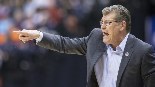 Geno Auriemma, Head Coach of UConn, during action against Oregon State, Women's Final Four, Bankers Life Fieldhouse, Indianapolis, Sunday, April 3, 2016.