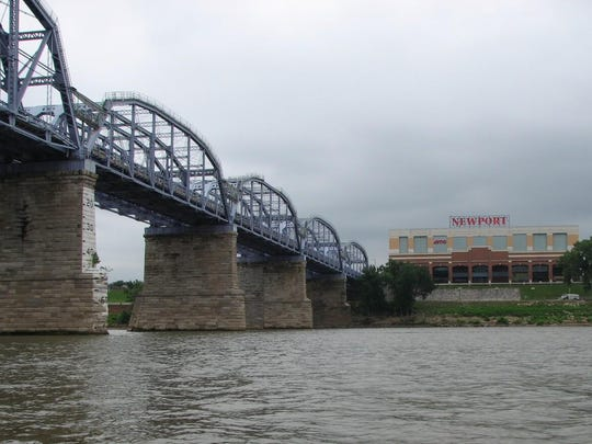 The view of the Purple People Bridge and Newport on