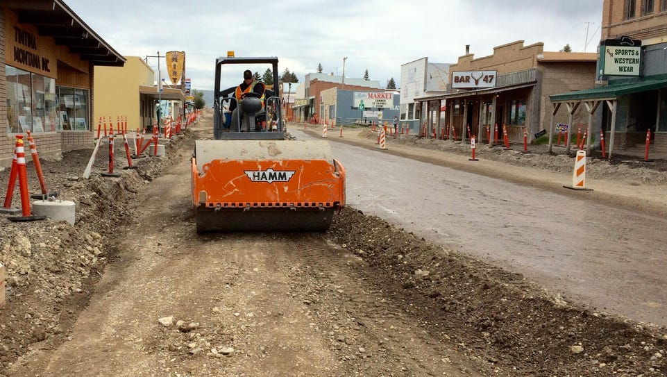 Construction continues along Main Street in White Sulphur