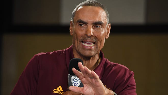 """Arizona State head coach Herm Edwards at Pac-12 Media Day in Hollywood on July 25, 2018 said: """"Everyone is excited about the season. It's football season."""""""