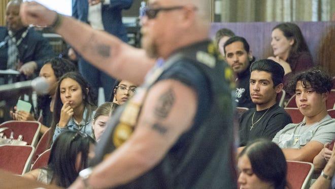 Trump supporter Adam Rocha speak at the Phoenix City Council meeting regarding President Donald Trump's August visit to Phoenix.