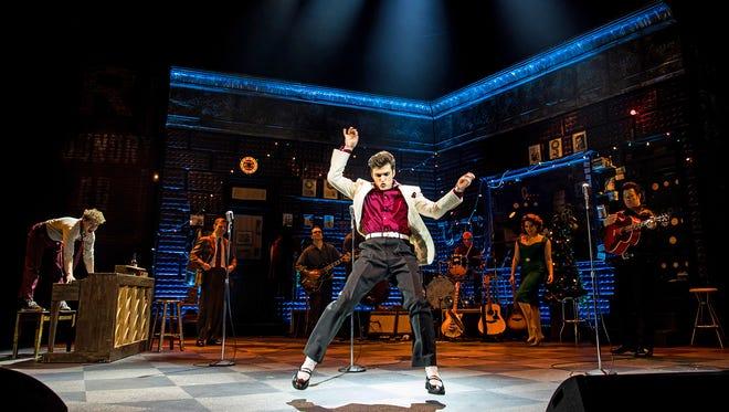 "Alex Boniello, a 2009 graduate of Wood-Ridge High School, channels Elvis Presley in a production of ""Million Dollar Quartet,"" at the Paper Mill Playhouse through April 23."