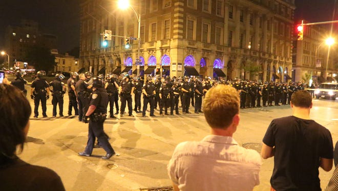 Police occupied the intersection of East Avenue and Alexander Street after a group that was occupying a portion of the street on East Avenue dispersed.  Police kept shifting to move the protestors on East and Alexander towards downtown.