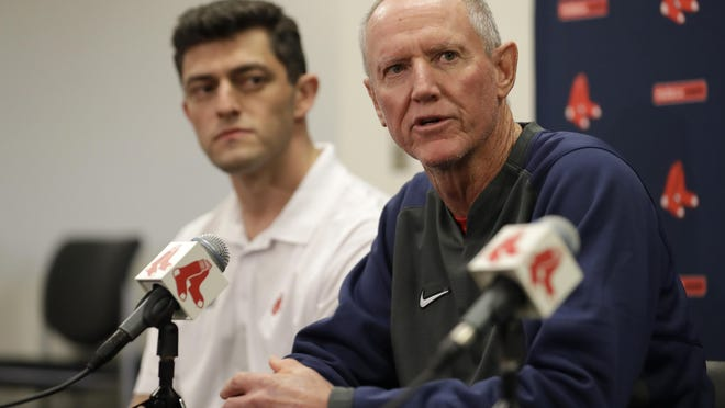 Red Sox manager Ron Roenicke (right) and chief baseball officer Chaim Bloom were among those who addressed Red Sox plauyers ahead of their upcoming road trip.