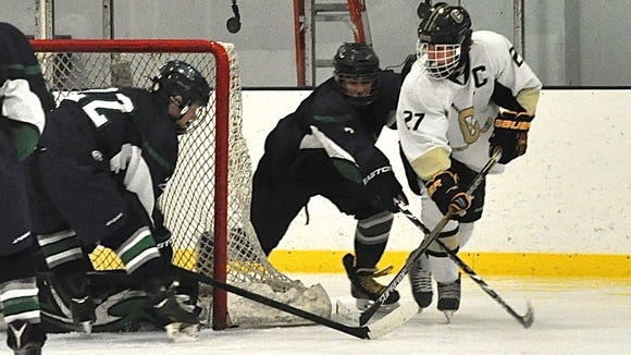 Clarkstown's Adam Marvin, who'd score the game-tying and game-winning goals, is denied on a backhand, wrap-around attempt.