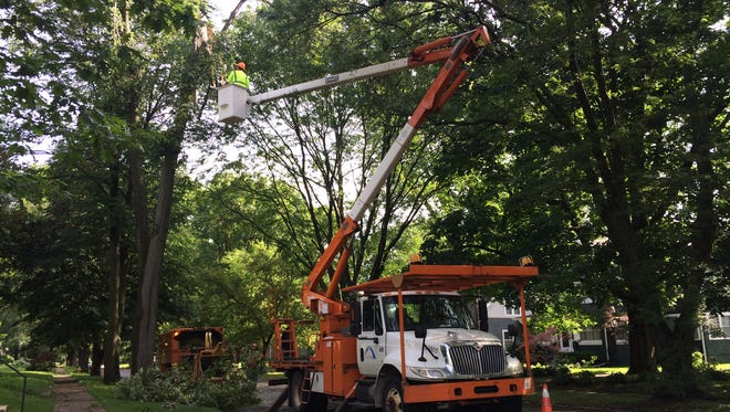 City workers handle tree damage in the 900 block of 44th Street in Des Moines this morning.
