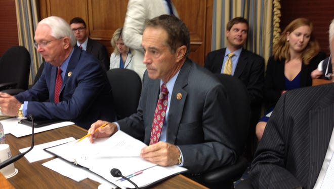 "Republican Rep. Chris Collins of Clarence at the House Science Space and Technology Committee hearing Wednesday on the EPA's ""Waters of the United States"" proposed rule."
