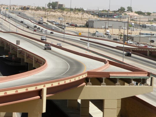 The off ramp from southbound Loop 375 to westbound I-10 at the freeway interchange in far East El Paso. File art.