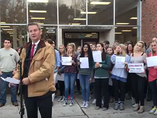 Knox County Mayor Tim Burchett spoke at Bearden High School about ACT's refusal to release students' test scores.