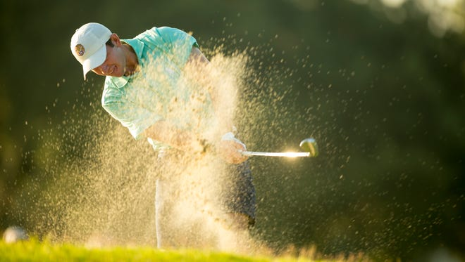 Philip Barbaree plays his second shot on the first hole during the final round of match play of the 2015 U.S. Junior Amateur at Colleton River Plantation Club in Bluffton, South Carolina on Satuday.